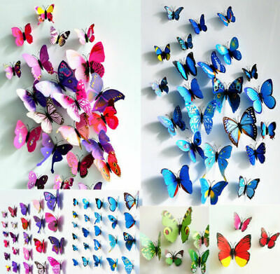 Home Decoration - 72PCS 3D DIY Multi-Color Butterfly Wall Sticker Home Wedding Room Art Decor