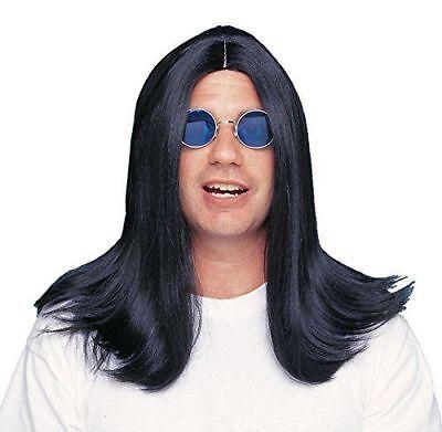 Costume Culture Wig 18 Inch Parted Black Rocker Metal Long Hair Halloween 24666 (Hair Metal Wigs)