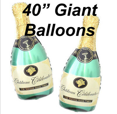 Champagne Glass And Bottle Foil Balloon Large Helium Any Party balloons - Helium Bottle