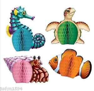 UNDER THE SEA HONEYCOMB DECORATIONS PARTY CENTREPIECES TURTLE FINDING NEMO DORY