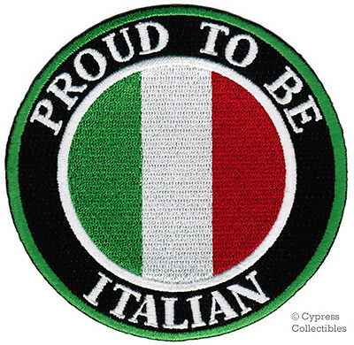 PROUD TO BE ITALIAN embroidered iron-on PATCH ITALY FLAG TOPPA ITALIANA