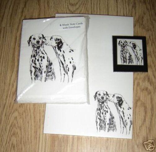 Dalmatians Dog Kiss 3 Piece Set-Notepad, 6 Blank Notecards and Magnet