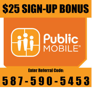 Public Mobile $25 Referral Bonus and $10/month off for 6 months.