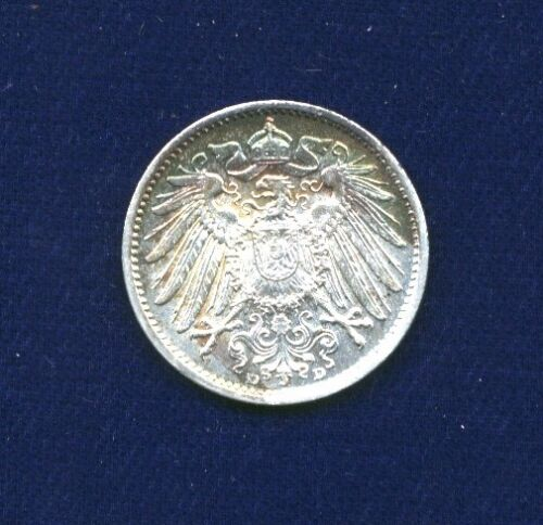 GERMANY EMPIRE  1904-D  1 MARK SILVER COIN, CHOICE BRILLIANT UNCIRCULATED