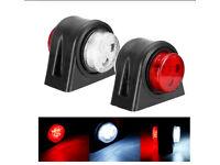 PAIR OF 12 LED SIDE MARKER LIGHT RED WHITE DOUBLE SIDED LAMPS 10-30 VOLT TRUCKS*