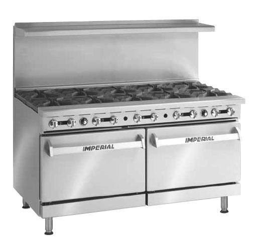 "Imperial Range Ir-10 60in Gas Restaurant Range W/10 Burners & Two 26.5"" Ovens"