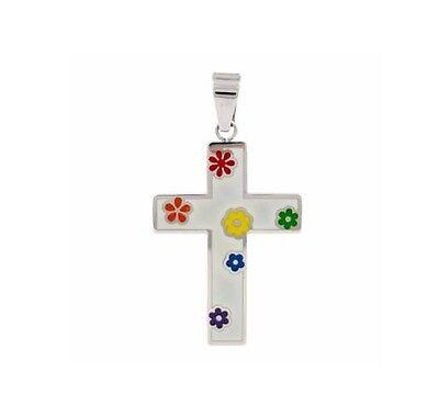 Gay Lesbian Rainbow Pride Flower Cross Stainless Steel Pendant Necklace ](Rainbow Cross)