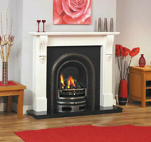 cast iron granite cream ivory surround wood coal burning fire