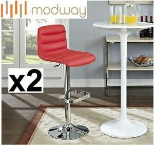 """2 NEW* MODWAY VINYL BAR STOOLS RED FURNITURE - Overall : 17.5""""L x 16""""W x 32 - 41.5""""H 106681453"""