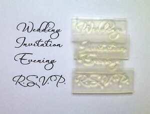 Wedding evening invitation rsvp set of script clear stamps for Wedding rsvp cards stamps