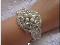 Bridal: Vintage Crystal and Pearl Rhinestone Bridal Wedding Bracelet/Cuff