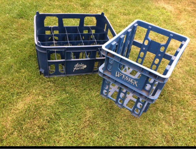 2 Old plastic Dairy Milk Crates Vintage Wessex Dairy And Dale Farm Collectibles