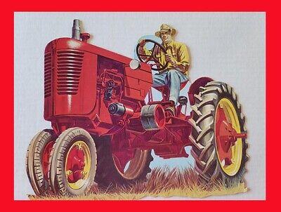 Vintage 1964 Eureka Die-Cut Farmer On A Tractor Cardboard Color Display Figure