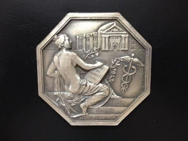 FRANCE / MYTHOLOGY MERCURY GOD OF TRADE / GREAT WHITE METAL MEDAL BY GLORIA M65