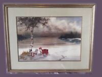 Doug Haddow signed large framed original watercolour painting picture