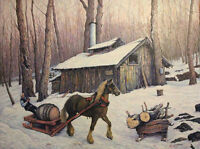 Original Oil Painting Canadian Maple Syrup Farm