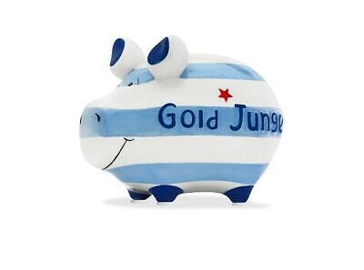 Gold Junge Geburt Sparschwein Spardose 12 cm Motiv Money Kleinschwein Keramik ()