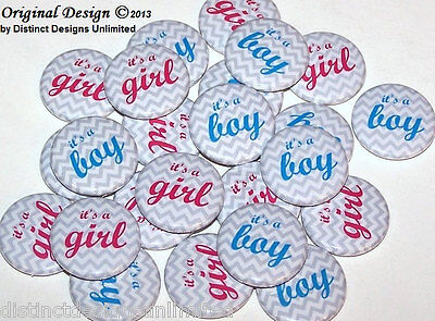 Gender Reveal Buttons (Boy or Girl Gray Grey Chevron Gender Reveal Pins Buttons Party Favors -Set of)