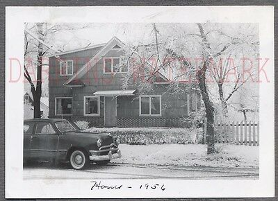 Vintage Car Photo 1950 Ford Automobile & House in Winter Snow 754880