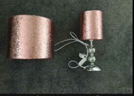 Next girls sparkly pink lamp and lampshade