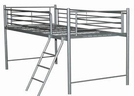 Silver metal mid sleeper single bed
