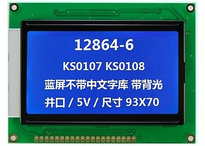 128x64 5v Matrix Graphic Lcd Module Display Lcm Wks0107ks0108white On Blue