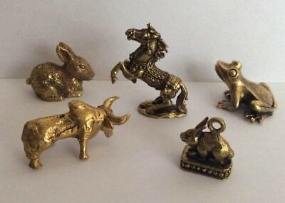 Lot 5 X Figure Brass Amulet Animal Pet Spirit Cambodia a2