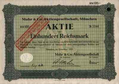 Mohr AG 1929 München Bad Neustadt Freiburg Schweinfurt 100 RM Mannheim Sägewerk