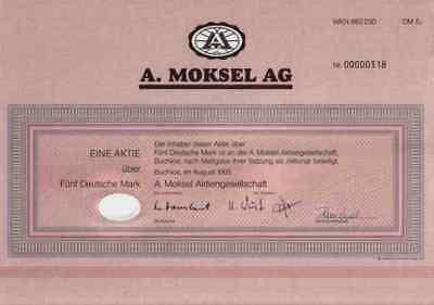 A. Moksel Buchloe März 1995 Rosenheim Merzig Vion Food  5 DM Historische Aktie