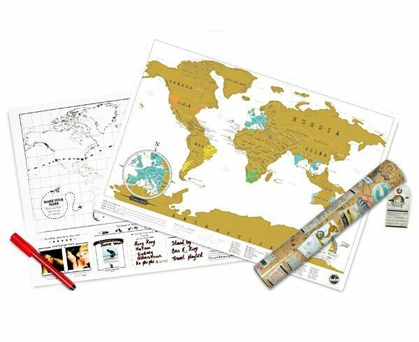 LUCKIES TRAVEL EDITION PERSONALIZED SCRATCH OFF WORLD MAP USA SELLER