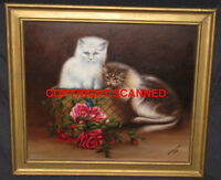 KITTENS, BUTTERFLY,ROSES, BASKET NAIVE OIL PAINTING, SIGNED,1938