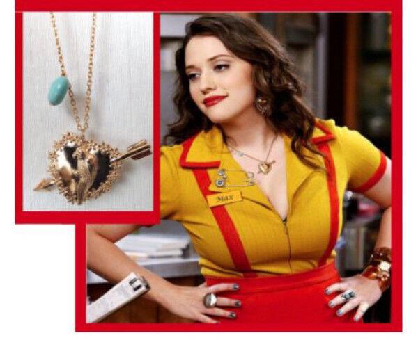 2 Broke Girls Genuine Turquoise Gem Gold Parrot Pendant NECK