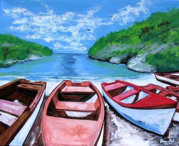 Mediterranean Beach Boats Original Art Painting Dan Byl Modern Contemporary 5ft