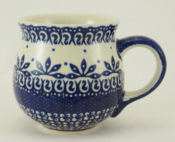 Becher 0,33 Liter, Bunzlauer Keramik Tasse to go K115-P364 blau//weiß
