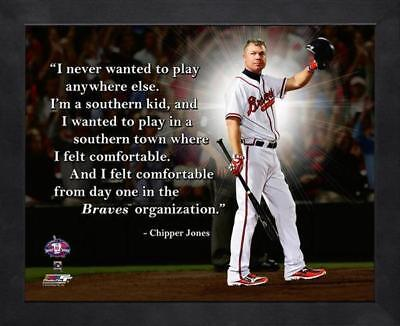 "CHIPPER JONES ~ 8x10 Color Pro Quote Photo Picture ~Framed 9x11~ ""Braves"""