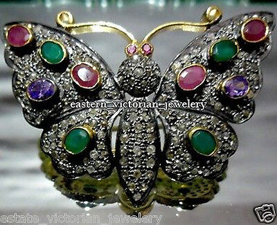 Vintage 2.34cts Pave Rose Cut Diamond Gemstone Silver Butterfly Brooch Jewelry