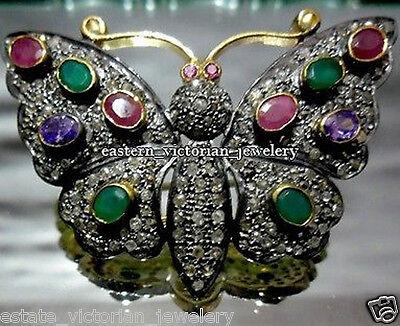 Vintage 2.34cts Rose Cut Diamond Gemstone Silver Butterfly Brooch Pin Jewelry