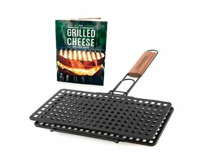 NEW Grilled Cheese Basket & Recipe Book Set Perforated Steel Charcoal Companion