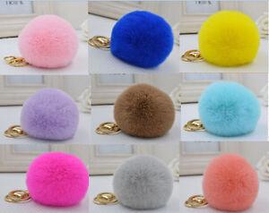 Keychain pom pom real rabbit fur, brand new, bags deco