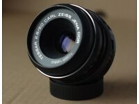 Zeiss Jena 2.8 50mm prime lens MINT condition with Gobe M42 to Fuji X adapter