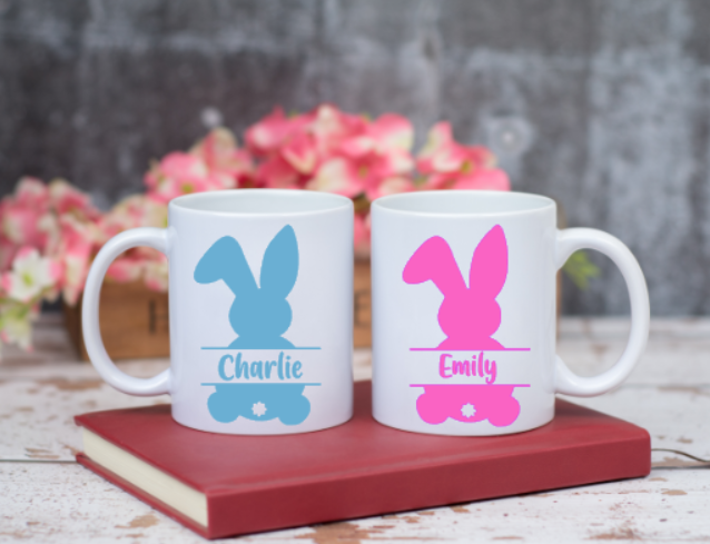 Personalised Easter Bunny Decal/Label With Name For Mug