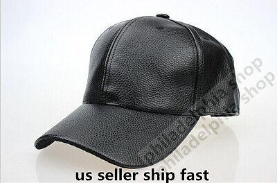 new Mens Black Solid Leather Baseball Ball Motor Cap Hat Trucker (Black Leather Baseball)