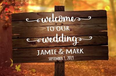 Welcome to Our Wedding Vinyl Decal Custom Wedding Signs Decor Rustic DIY Chalk - Rustic Diy Decor