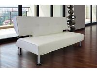 White faux fur leather sofa bed