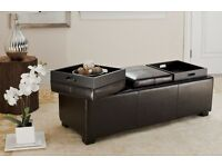 Leather storage ottoman with reversible trays
