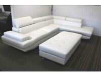 White large leather corner sofa and XL footstool