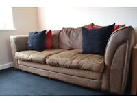 Brown suede and fabric 3 seater couch