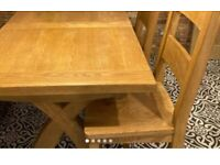 Solid oak extending dining table 2 chair collect old kent road
