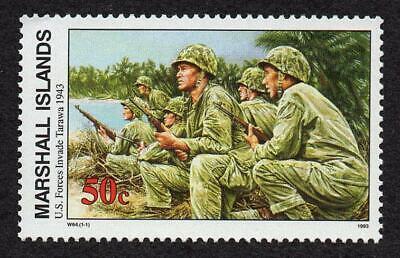 MARSHALL ISLANDS, SCOTT # 474, U.S. FORCES INVADE TARAWA 1943, WORLD WAR II, MNH