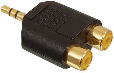 Stereo Mini Jack Male to 2 x RCA Female Adapter Gold
